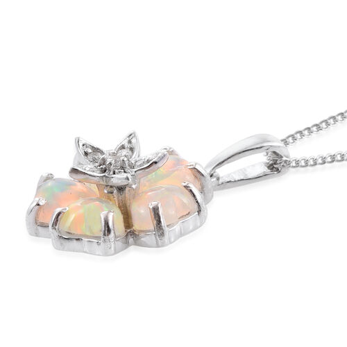 Ethiopian Welo Opal (Hrt), Natural Cambodian Zircon Pendant With Chain in Platinum Overlay Sterling Silver 1.500 Ct.