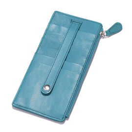 Genuine Leather RFID Blocker Teal Blue Colour Ladies Wallet (Size 17x8 Cm)