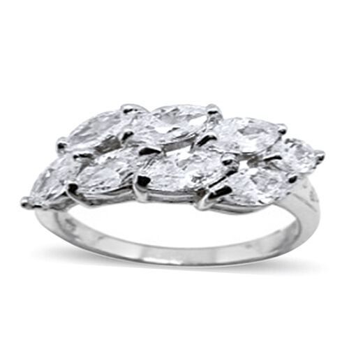 AAA Simulated Diamond (Mrq) Ring in Yellow Gold Plated Sterling Silver 2.500 Ct.