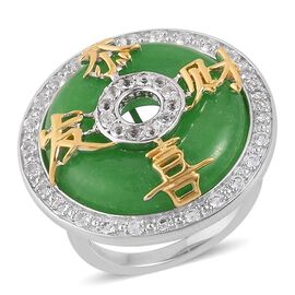 Chinese Green Jade (Rnd 14.75 Ct), White Topaz Chinese Character Gong Xi Fa Cai (wish of wealth and prosperity) Ring in Rhodium and Yellow Gold Overlay Sterling Silver 15.500 Ct.