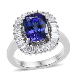 RHAPSODY 950 Platinum AAAA Tanzanite (Cush 4.35 Ct), Diamond Ring 5.500 Ct.