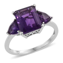 Lusaka Amethyst (Oct 4.15 Ct) Ring in Platinum Overlay Sterling Silver 5.500 Ct.