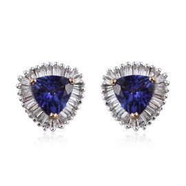 ILIANA 18K Y Gold AAA Tanzanite (Trl), Diamond Stud Earrings (with Screw Back) 1.350 Ct.