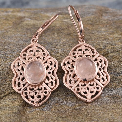 Marropino Morganite (Ovl) Lever Back Earrings in Rose Gold Overlay Sterling Silver 4.500 Ct.