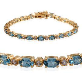 Electric Swiss Blue Topaz (Ovl), Tanzanite Bracelet in 14K Gold Overlay Sterling Silver (Size 8) 11.750 Ct.