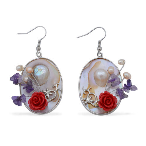Amethyst, Fresh Water Pearl and Shell Hook Earrings in Silver Tone with Resin