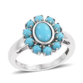 Arizona Sleeping Beauty Turquoise (Ovl 0.70 Ct) Ring in Platinum Overlay Sterling Silver 1.750 Ct.
