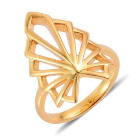LucyQ Art Deco Ring in Yellow Gold Overlay Sterling Silver 5.06 Gms.