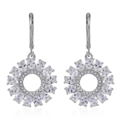 ELANZA AAA Simulated Diamond (Rnd) Lever Back Earrings in Rhodium Plated Sterling Silver