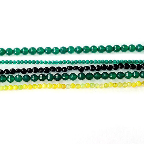 Green Agate Enhanced, Black Onyx, Yellow Agate Enhanced Gemstone Chain (Beads)  210.000  Ct.
