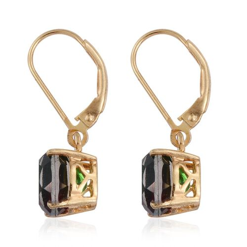 Bi-Color Tourmaline Quartz (Ovl) Lever Back Earrings in 14K Gold Overlay Sterling Silver 4.750 Ct.