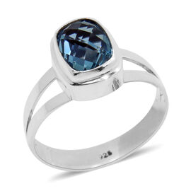 Royal Bali Collection AAA Swiss Blue Topaz (Cush) Solitaire Ring in Sterling Silver 2.750 Ct.
