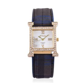 STRADA Japanese Movement White Dial with White Austrian Crystal Water Resistant Watch in Gold Tone with Stainless Steel Back and Blue Strap
