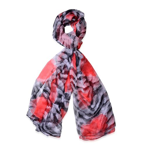 40% Mulberry Silk Red, Black and White Colour Zebra Pattern Scarf (Size 170X105 Cm)