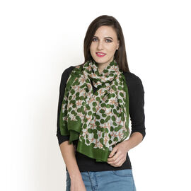 100% Mulberry Silk Green, White and Multi Colour Apple Printed Scarf (Size 180x50 Cm)