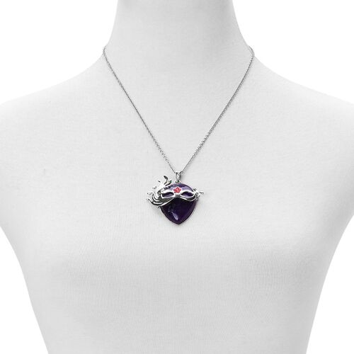 Amethyst, Red Austrian Crystal Mask Pendant With Chain (Size 32) in Silver Tone 25.500 Ct.