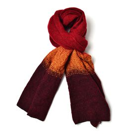 Burgundy and Yellow Colour Scarf (Size 190x65 Cm)