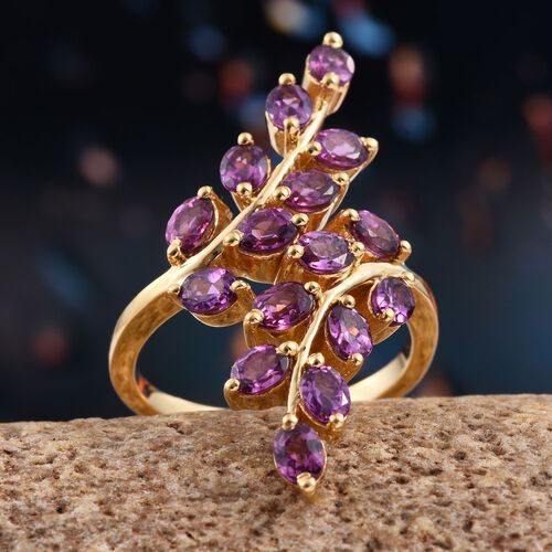 Rare Mozambique Grape Colour Garnet (Ovl) Leaves Crossover Ring in 14K Gold Overlay Sterling Silver 3.250 Ct.