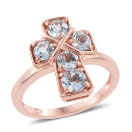 Espirito Santo Aquamarine 1.25 ct. Silver Stacking Cross Ring Gold Overlay