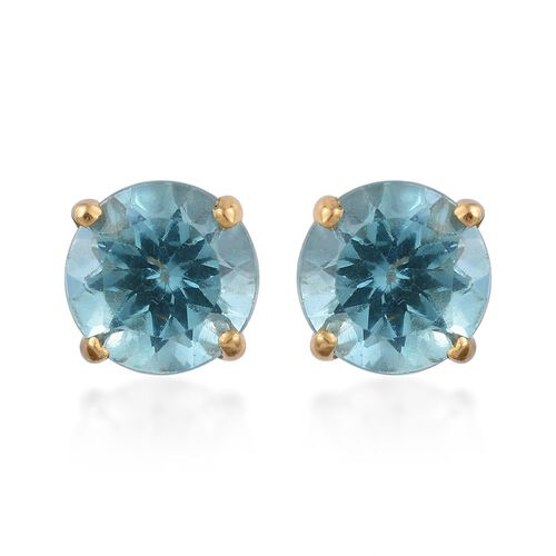 Paraiba Apatite (Rnd) Stud Earrings (with Push Back) in 14K Gold Overlay Sterling Silver 1.750 Ct.