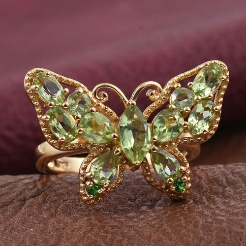 AA Hebei Peridot (Mrq 0.70 Ct), Russian Diopside Butterfly Ring in 14K Gold Overlay Sterling Silver 3.250 Ct.