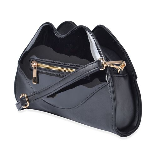 Designer Inspired Lip Design Black Colour Crossbody Bag (Size 23x15x6 Cm)