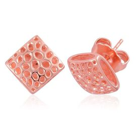 RACHEL GALLEY Rose Gold Overlay Sterling Silver Memento Diamond Stud Earrings (with Push Back), Silver wt 4.71 Gms.