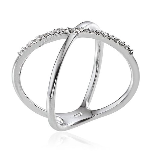 Diamond (Rnd) Criss Cross Ring in Platinum Overlay Sterling Silver 0.100 Ct.