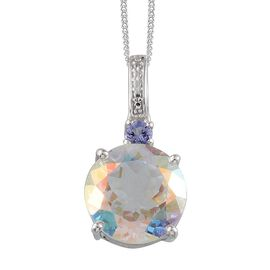 Mercury Mystic Topaz (Rnd 8.00 Ct), Tanzanite Pendant With Chain in Platinum Overlay Sterling Silver 8.100 Ct.
