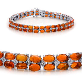 Orange Ethiopian Opal (Ovl), Diamond Bracelet in Platinum Overlay Sterling Silver (Size 7.5) 8.270 Ct.