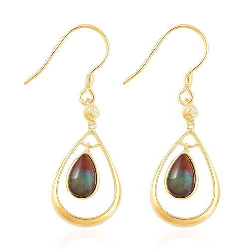 AA Canadian Ammolite (Pear), White Zircon Drop Hook Earrings in Yellow Gold Overlay Sterling Silver 1.850 Ct.