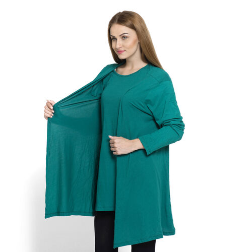 Set of 2 - 100% Cotton Teal Colour Long Sleeve Tank Top Cardigan (Size Small / Medium)
