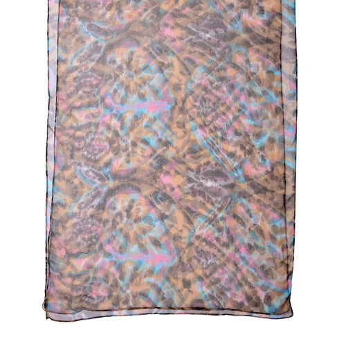 100% Mulberry Silk Chocolate, Blue and Multi Colour Printed Scarf (Size 180X50 Cm)