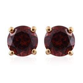 Mozambique Garnet (Rnd) Stud Earrings (with Push Back) in 14K Gold Overlay Sterling Silver 2.250 Ct.