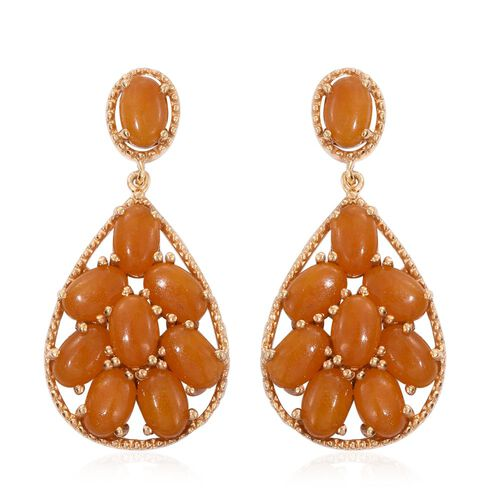 Yellow Jade (Ovl) Earrings (with Push Back) in 14K Gold Overlay Sterling Silver 10.750 Ct.