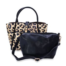 Set of 2 - Hadley Leopard Tote Bag and Black Colour Crossbody Bag with Adjustable and Removable Shoulder Strap (Size 36x24x12.5 and 17.5x20x11 Cm)