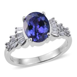 RHAPSODY 950 Platinum 2.80 Carat AAAA Tanzanite Oval Bellarina Ring, Diamond VS E-F.