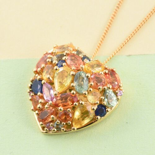 Orange Sapphire (Ovl), Yellow Sapphire, Green Sapphire, Kanchanaburi Blue Sapphire and Multi Gemstone Heart Pendant With Chain (Size 30) in 14K Gold Overlay Sterling Silver 5.00 Ct.