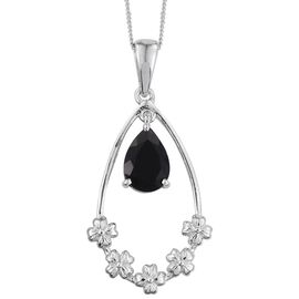 Black Onyx (Pear) Pendant With Chain in Platinum Overlay Sterling Silver 1.500 Ct.