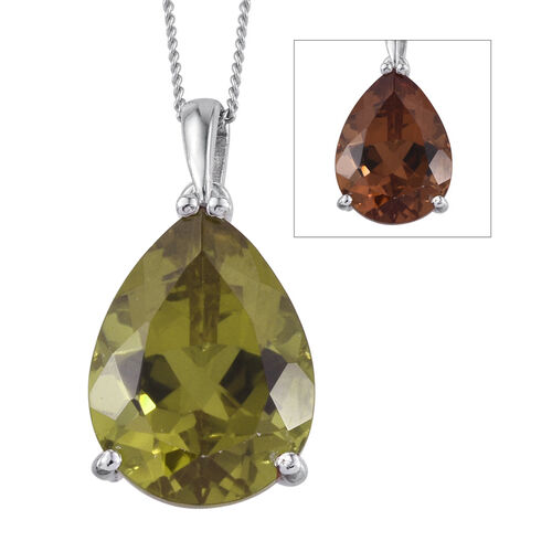 Alexite (Pear) Solitaire Pendant With Chain in Platinum Overlay Sterling Silver 8.500 Ct.