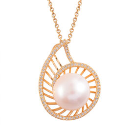(Option 1) Fresh Water White Pearl and Simulated White Diamond Pendant With Chain (Size 18) in Gold Tone With Stainless Steel