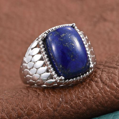 Lapis Lazuli (Cush) Solitaire Ring in ION Plated Platinum Bond 6.250 Ct.