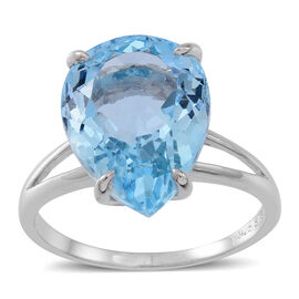 AAA Rare Size Sky Blue Topaz (Pear) Ring in Rhodium Plated Sterling Silver 11.000 Ct.
