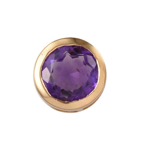 (Option 1) Amethyst (Rnd) Solitaire Pendant in 14K Gold Overlay Sterling Silver 2.500 Ct.
