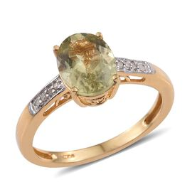Natural Canary Apatite (Ovl 1.95 Ct), Diamond Ring in 14K Gold Overlay Sterling Silver 2.000 Ct.
