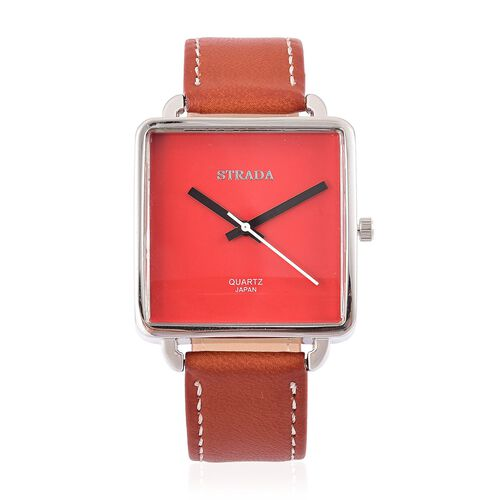 Designer Inspired- STRADA Japanese Movement Red Dial Watch in Silver Tone with Stainless Steel Back and Light Chocolate Colour Strap