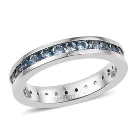 RHAPSODY 950 Platinum 1 Carat Santa Maria Aquamarine Full Eternity Band Ring in Channel Setting.