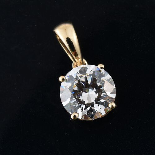 9K Yellow Gold Round Solitaire Pendant Made with SWAROVSKI ZIRCONIA
