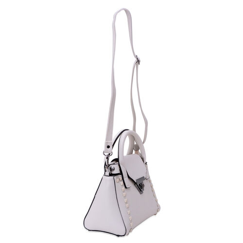 White Colour Tote Bag with External Zipper Pocket and Adjustable and Removable Shoulder Strap (Size 25x15x10 Cm)