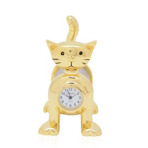 Home Decor - STRADA Japanese Movement White Dial Cat Design Clock in Gold Tone
